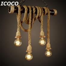 1pcs E27 Industrial Pendant Lamp Double Head Vintage Edison Rope Ceiling Home Restaurant Themed Decor Hemp Drop Ship Sale