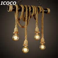 1pcs E27 Industrial Pendant Lamp Double Head Vintage Edison Rope Ceiling Home Restaurant Themed Decor Hemp Rope Drop Ship Sale
