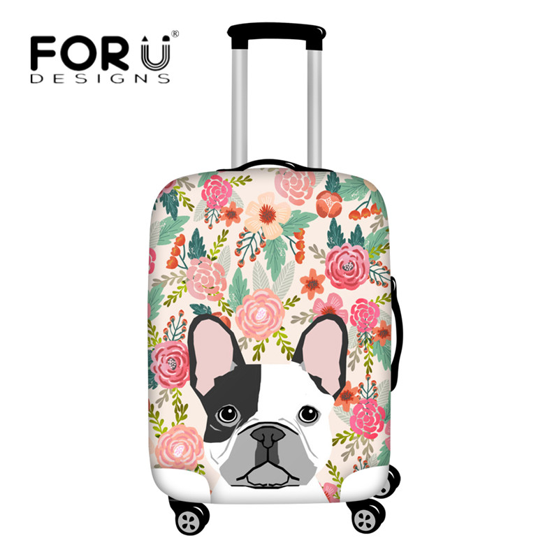 FORUDESIGNS Schnauzer Suitcase Protective Covers French Bulldog Floral Pug Dog Printed Elastic Luggage Cover For 18-30 Inch Case