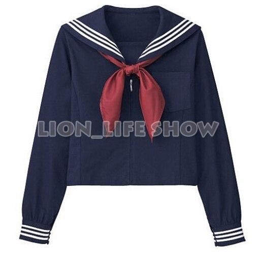 Япония Кансай Лацкан Женщин JK Высокая Школа Сейлор Единая Топ С Красным Шарфом Рубашка