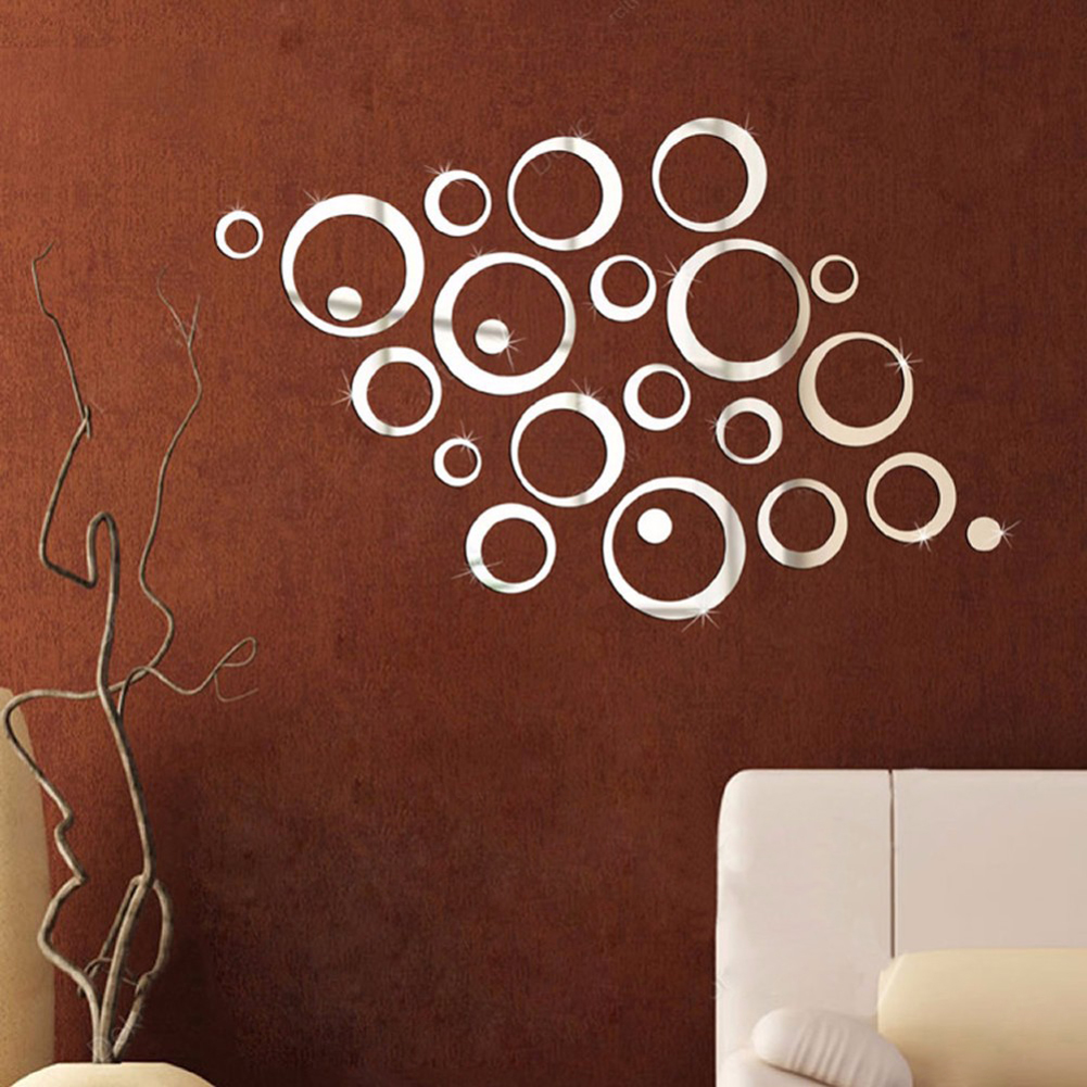 Image 4 - Circles Mirror Wall Sticker Removable Decal Vinyl Art Mural Wall Stickers Home Decoration DIY Poster Stickers for wall-in Wall Stickers from Home & Garden