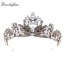 Vintage Golo Color Large Crown Hair Jewelry Rhinestone Crystal Leaf Queen Bride tiara Crown For Wedding Hair Accessories HG079