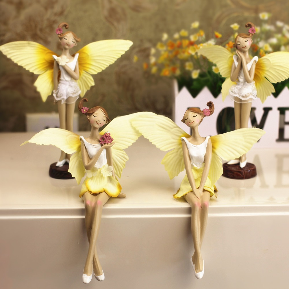 2pcs set beautiful girl yellow resin angel ornaments for Angels decorations home