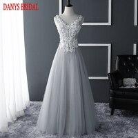 Silver Long Prom Dresses for Graduation Beaded Tulle Evening Party Dress vestidos de baile