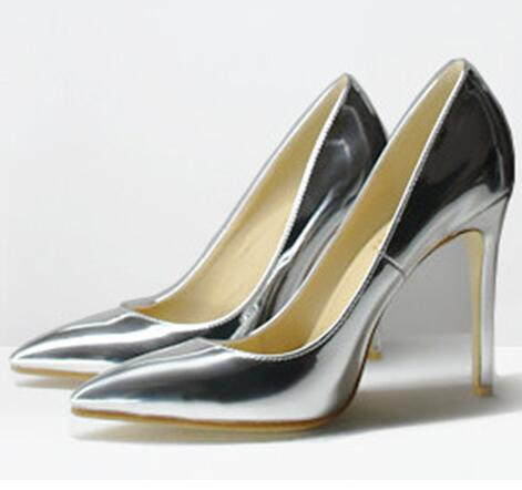 Women Patent Leather Thin High Heels Pointed Toe Pumps New Arrival Pure Color Gold Woman Shoes Plus Size 41 42 43 Big Size Shoes bowknot pointed toe women pumps flock leather woman thin high heels wedding shoes 2017 new fashion shoes plus size 41 42