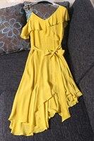 Высокое качество Новое поступление шелк летнее платье Sexy V шеи желтый розовый серый платье выдалбливают по колено асимметричное платье