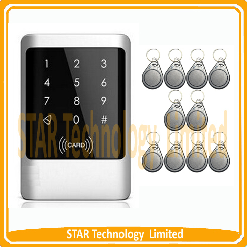 ФОТО Waterproof Rfid Proximity 125Khz smart em id card entry lock door access control Touch keypad system + 10 pcs free rfid keyfob