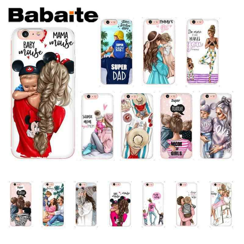 Babaite Black Brown Hair Baby Mom Girl Queen black Phone Case for iPhone 8 7 6 6S 6Plus X XS MAX 5 5S SE XR 10 11 11pro 11promax