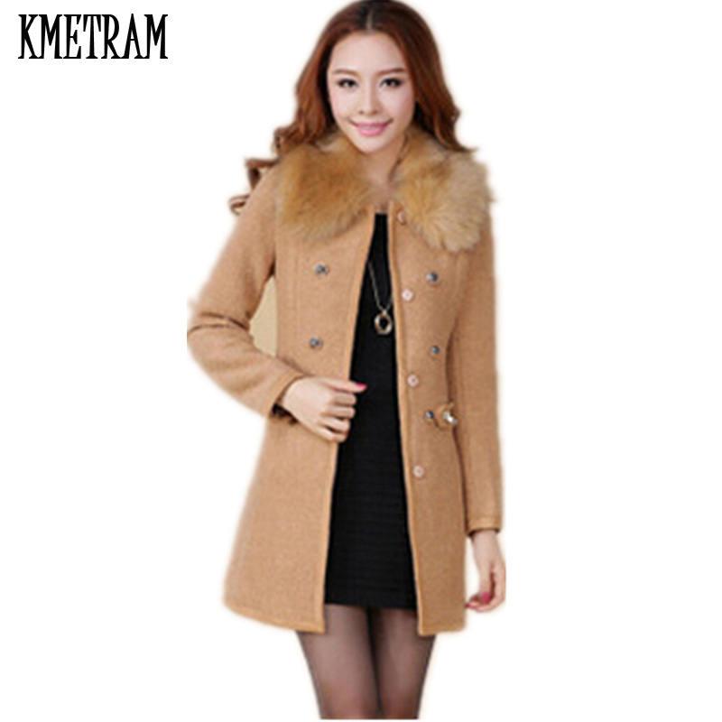 Casacos feminino Fur Collar Women Thick Wool Coat Double Breasted O neck Female Overcoat 2019 New