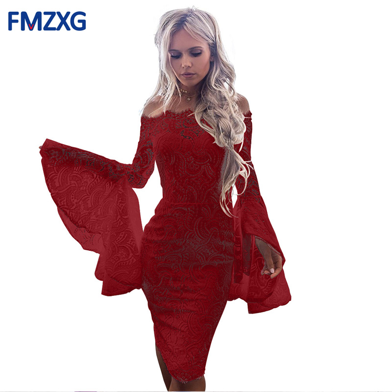 2018 Sexy Cool Shoulder Design Bandage Dress Women White Flare Sleeve Lace Dress Elegant Red Bodycon Cocktail Party Women Dress
