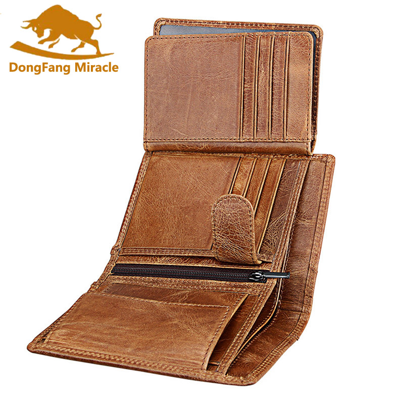 Men Wallet Soft Genuine Leather Wallet Big Capacity Purse Vintage Coin Pocket RFID Brush Card Holder Vertical Wallet
