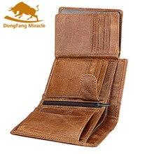 Portfel męski miękki portfel ze skóry naturalnej portmonetka o dużej pojemności Vintage kieszonka na monety RFID uchwyt na szczotkę pionowy portfel