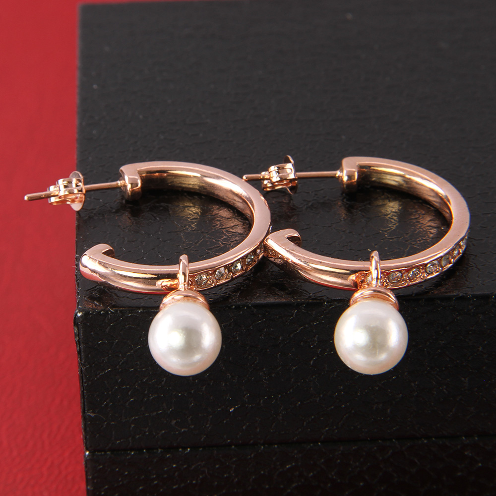 Ts Jewelry Pearl Drop Ear Rose Gold Creoles Hoop Earrings, Thomas Style  Glam And Soul