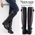 Koovan Rain Boots 2017 Fashion Women Shoes Punk Style Heel Riding Boots Zipper Shoes Knight Tall Boots Women Large Size 41