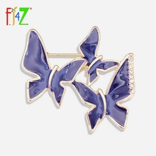 Brooches Costume Jewelry-Accessories Rhinestone-Pins Lindo Butterflies Blue Enamel Fashion
