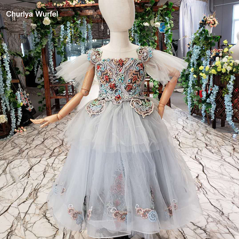 LSS519t vintage   dress   first communion   girl   puffy sleeves color beads lace up back   girl's   evening   dress   vestidos de comunion 2019