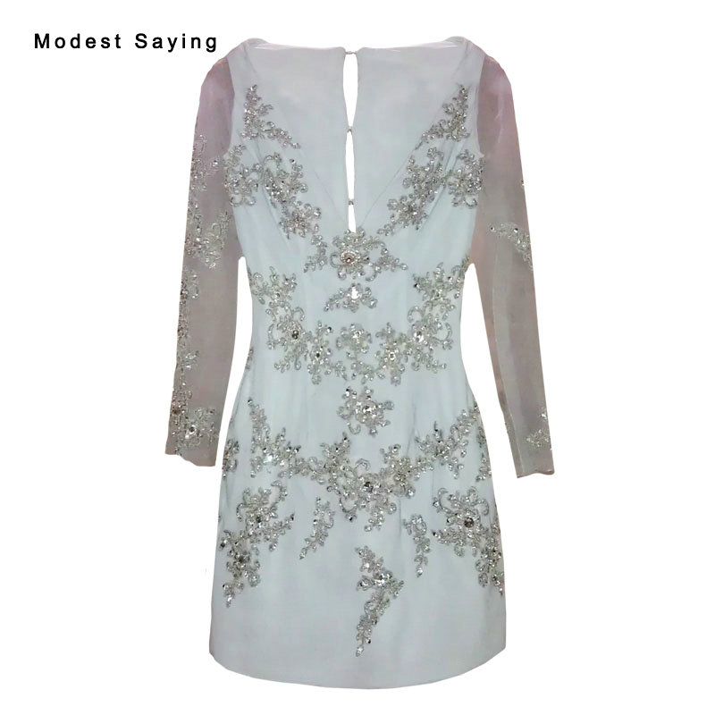 Elegant Straight Long Sleeve Beaded Lace Mini Party Cocktail Dresses 2017 Formal Women Short Prom Gowns Robe De Cocktail YC29