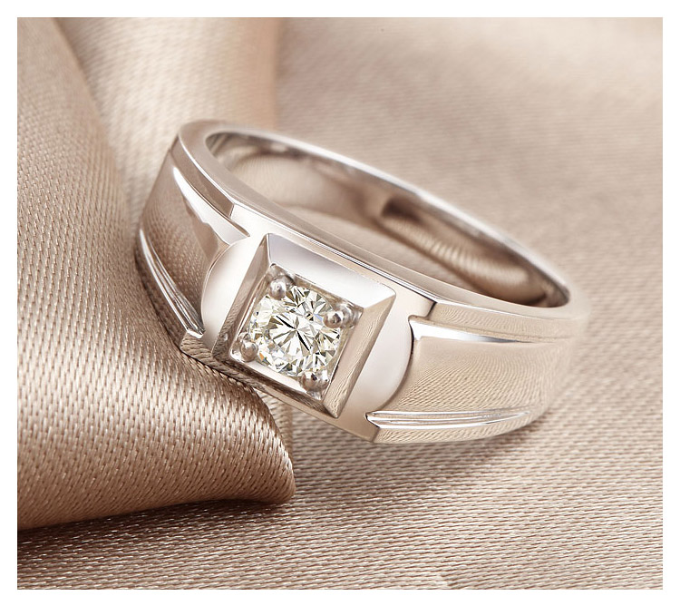 18K White Gold Diamond Solitaire for Men 0.08ct H SI1 Round Natural Diamond Wedding Jewelry Engagement Bands