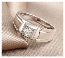 18K White Gold Diamond Solitaire for Men 0 08ct H SI1 Round Natural Diamond Wedding Jewelry