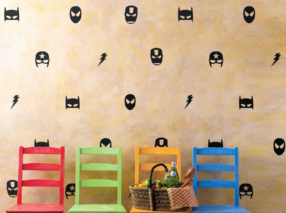 Set of 28 large Pcs of Marvel Mask Wall Stickers Boys Nursery ...