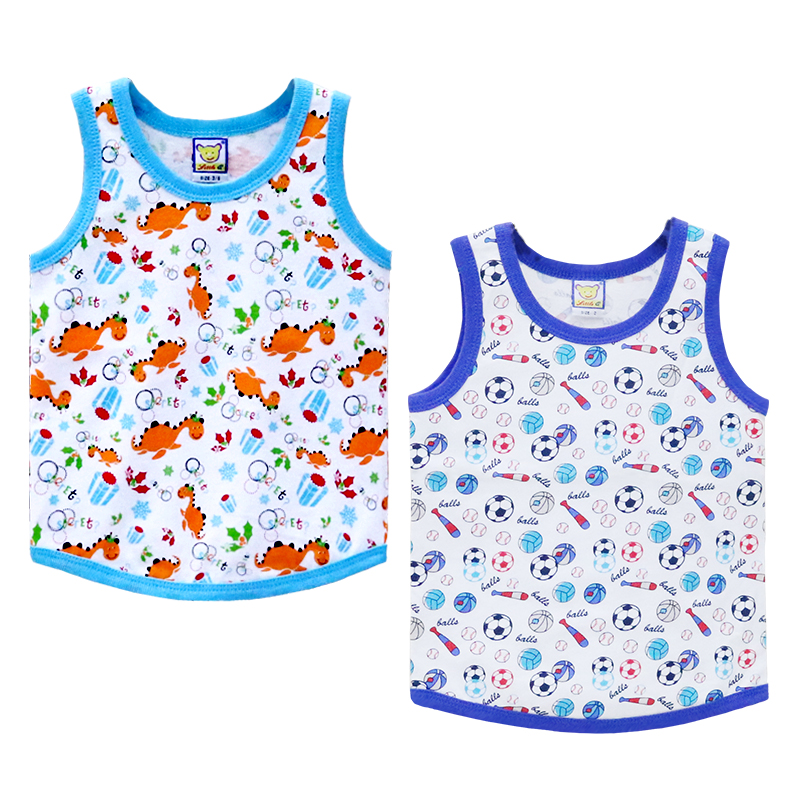 Children 100% Cotton Shirts Boys O Neck 2 Pieces/lot Clothes For Sports Baby Summer Clothes Kids Undershirts For Birthday Gifts