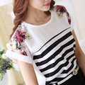 Women Blouse Loose Print Striped Blouse Ladies short sleeve Chiffon Blouses Shirt Women Tops Fashion 2015 Blusas Femininas
