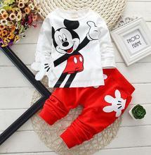 2018 Herfst Jongens Mickey Minnie cartoon 2 stks / set Kleding Pakken Koreaanse Kids T-shirts Broek Kinderen Sport Sets babykleertjes 0-4y