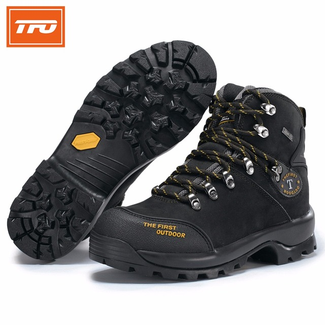 TFO hiking shoes man women mountain 100% Genuine leather boots Climbing waterproof tactical outdoor winter fishing 2018