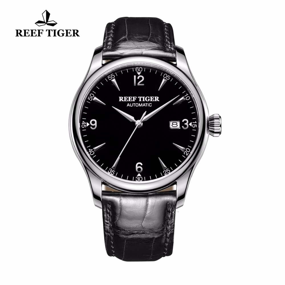 Reef Tiger/RT Business Men Watch with Date Stainless Steel Leather Strap Waterproof Mechanical Watches RGA823G reef tiger rt business men watch with date stainless steel leather strap waterproof mechanical watches rga823