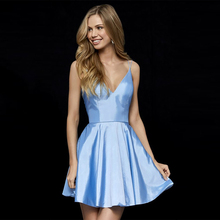 Verngo Red Stain Evening Dress Short Fashion Gown V-Neck Formal Classic Party Sky Blue