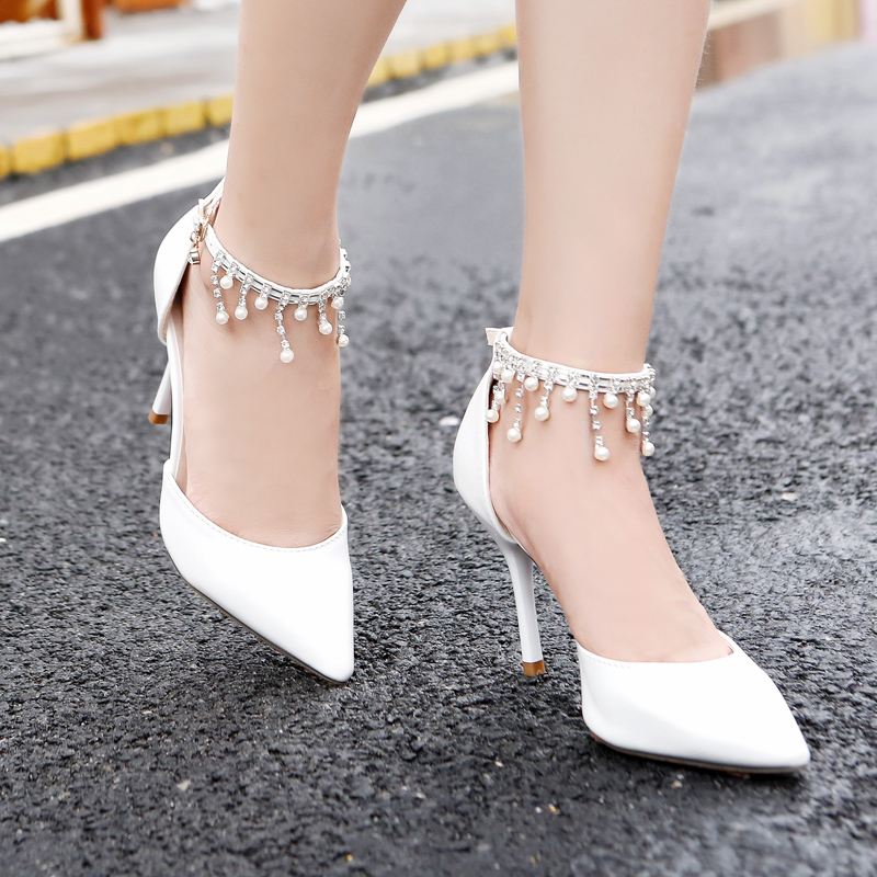 Woman Sandals Girls High Heels Buckle Ankle Strap White Pearl Diamond Tassel Bridal Wedding Pointed Toe Thin Heels Nude Shoes vintage tassel oxfords woman bowtie flats pointed toe buckle strap high quality spring shoes xwd3697