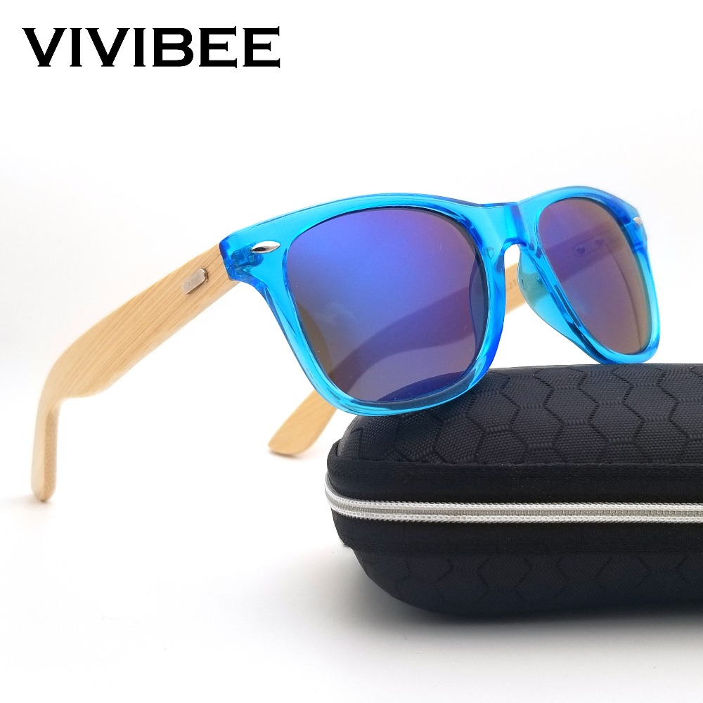 VIVIBEE Best Natural UV400 Retro Real Wooden Bamboo Transparent Men Sunglasses Classical Design Women Glasses Shades