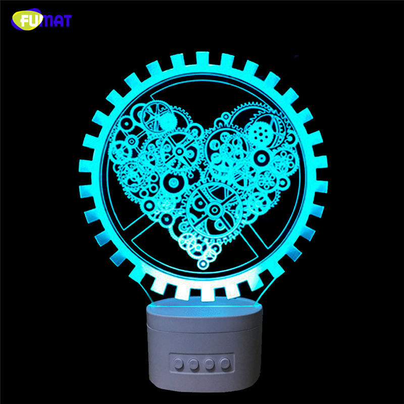 FUMAT Novelty 3D USB led Lamp Indoor Gears Bluetooth Speaker Music 3D Lovey Heart LED Night Light Color Changeable Lamparas Kid
