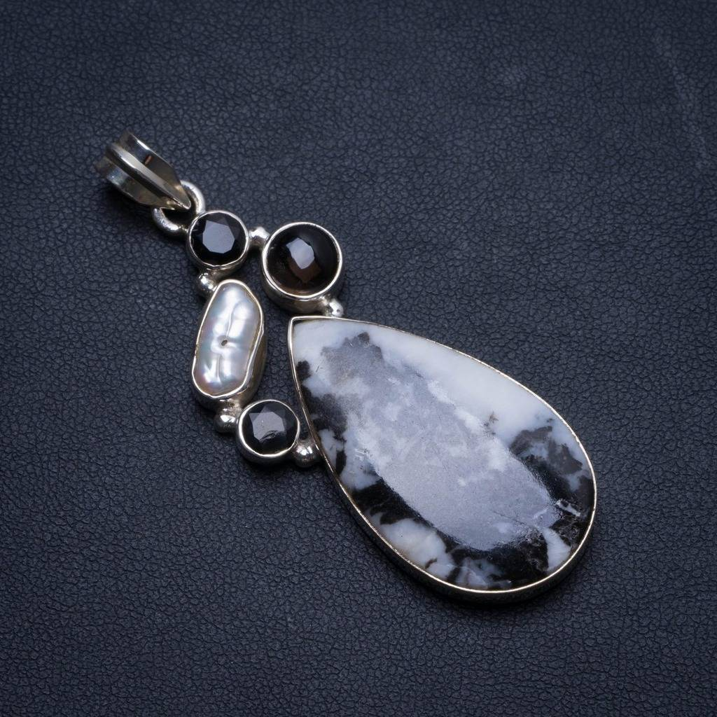 Natural Pinolith Jasper,Biwa Pearl,Smoky Quartz Black Onyx 925 Sterling Silver Pendant 2 1/4 U0353Natural Pinolith Jasper,Biwa Pearl,Smoky Quartz Black Onyx 925 Sterling Silver Pendant 2 1/4 U0353
