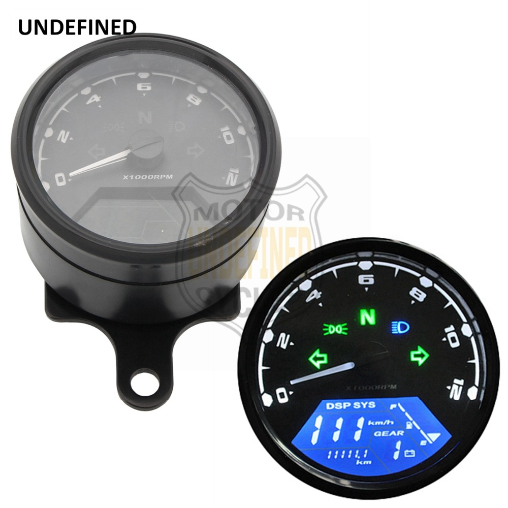 Universal Speedometer Motorcycle Odometer LCD 12V Digital Tachometer Motorcycle Gauge and Holder for Most Moto Bike UNDEFINED 12v led motorcycle odometer bike speedometer digital backlight night tachometer gauge panel motorcycle odometer 12000rpm
