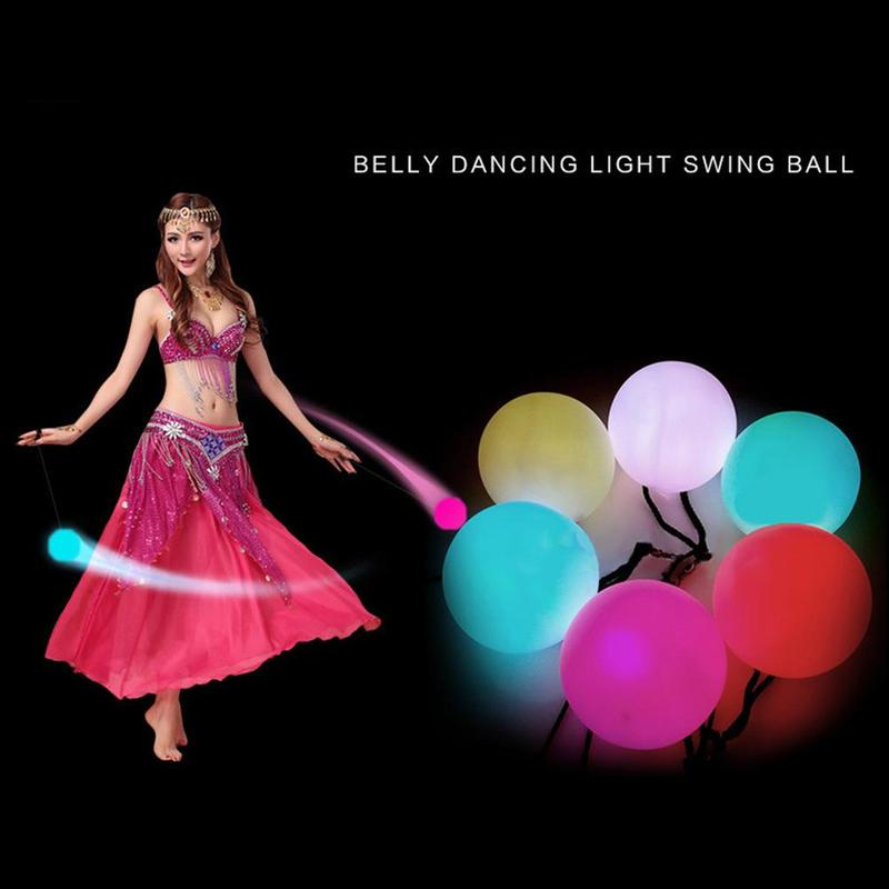 Dongzhur LED Light POI Vinyl Ball Luminous Poi Dance Supplies Acrobatic Props Children Yo-yo Toys Dancing Light Swing Ball
