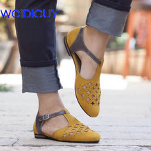 ФОТО yellow leather sandals for women summer hollow out t-tired sandals gladiator casual rome style sandalias cutout shoes girl gifts