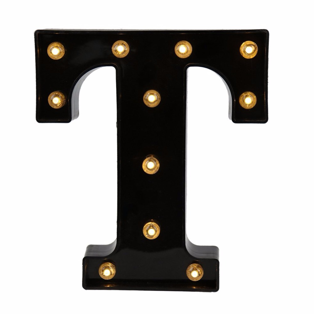 DELICORE 26 Letters Black LED Night Light Marquee Sign Alphabet Lamp For Birthday Wedding Party Bedroom Wall Hanging Decor