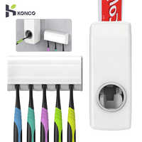 KONCO Automatic Toothpaste Squeezer Dispenser with Toothbrush Holder Bathroom Accessories Set Tooth Brush Storage Rack