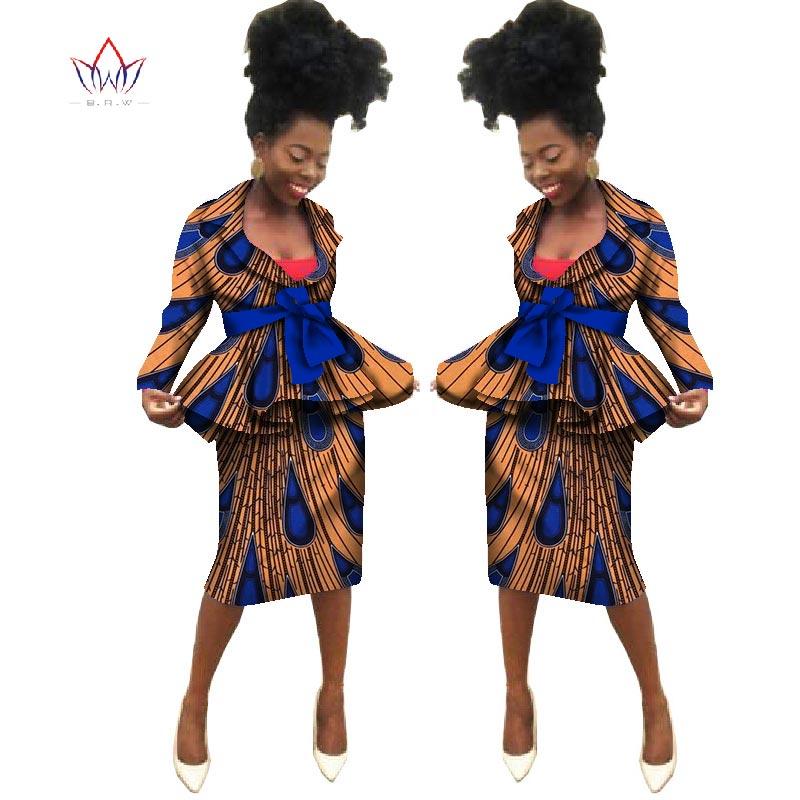 Sommar Nya afrikanska kjol passar Dashiki kvinnor elegant dam avslappnad uppsättning femme Bazin Riche bomull plus storlek två stycken BRW WY1839