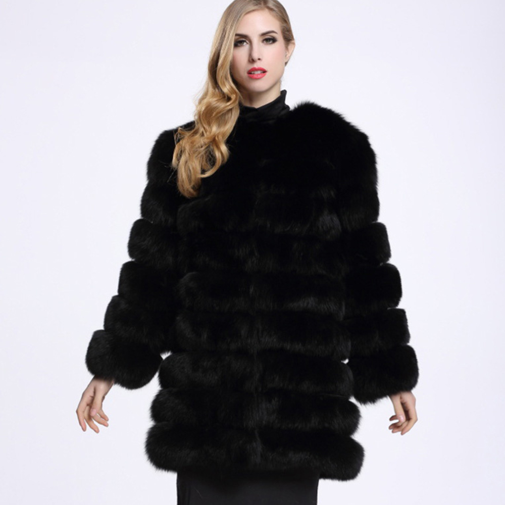 2018 Fc50029 Femmes white Grey Taille black Faux Largerlof Fourrure Avec Manteau De pink Chaud Plus D'hiver Veste Épaisse xB4qYOX