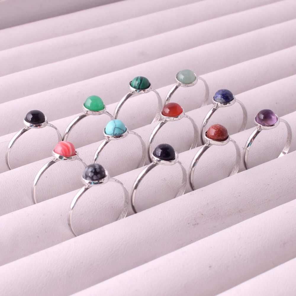 6ピースランダム混合石の指輪卸売虎目緑アベンチュリン銀メッキファッションジュエリーパーティーカクテルギフト