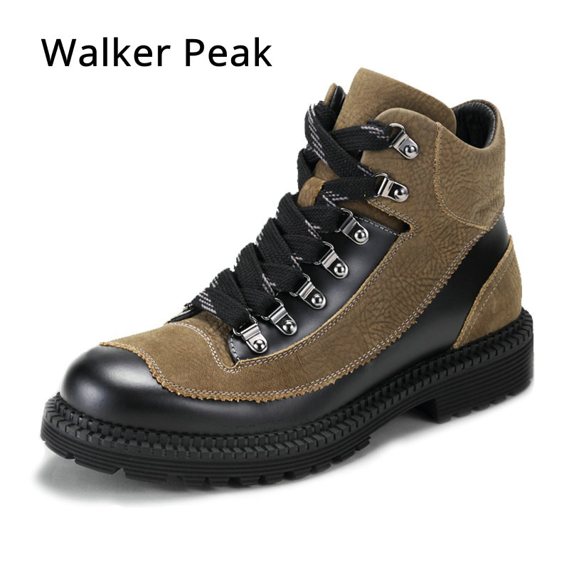 Fashion Men Winter Shoes, Genuine Leather Ankle Boots for Man, Lace up Men Waterproof Motorcycle Shoes, Comfortable Winter Boots hot sale men fashion shoes breathable anti skit genuine leather ankle boots for men lace up comfortable desert boots yellow