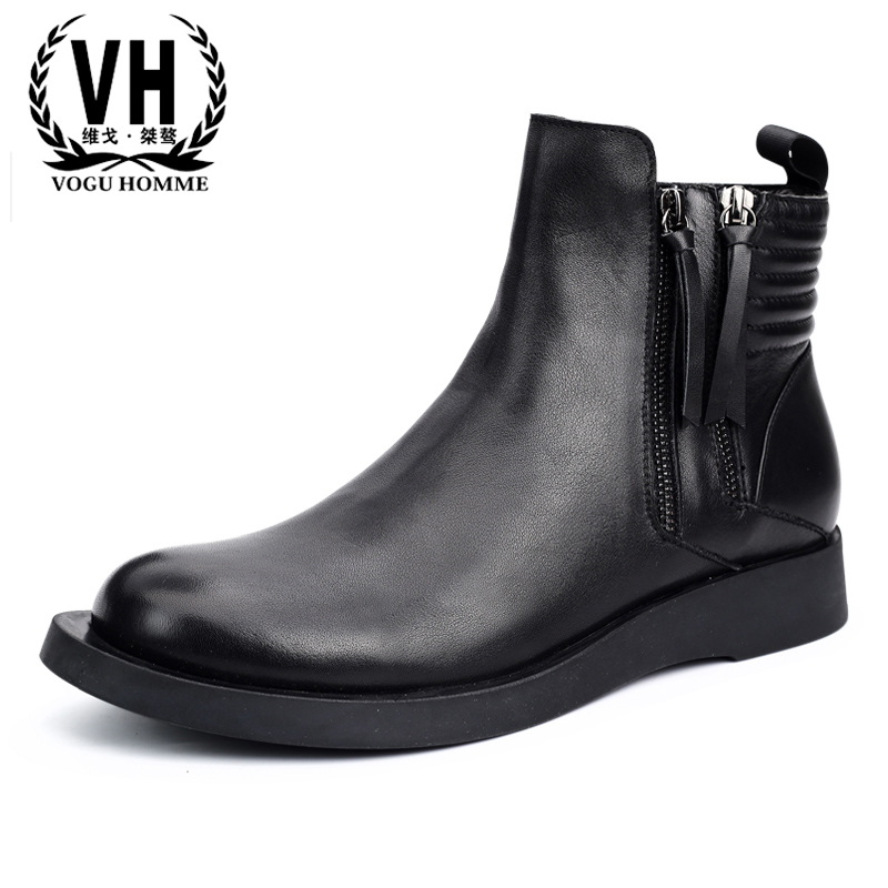 autumn winter Martin boots men's British fashion black zippers men Chelsea boots Genuine leather Martin boots all-match cowhide