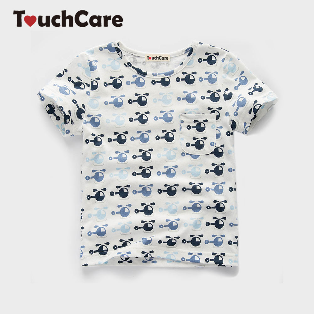 Touchcare cartoon printing plane baby boy t shirt short for T shirt printing for babies
