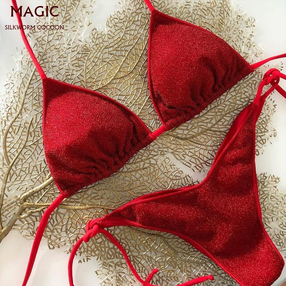 Red Bikini Set New Shiny Fabric Swimwear Red Two Piece Swimsuit Women Halter Top Solid Maillot Biquini Bathing Suits Beachwear