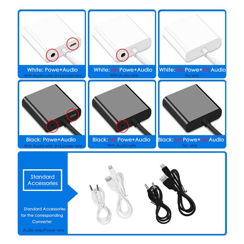 Eecpt HDMI untuk VGA Adapter Converter 1080P Digital Ke Analog Video Audio Adaptor untuk PS4 TV Box Laptop PC TV Layar Proyektor