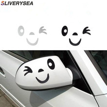 SLIVERYSEA 2pair Reflective Cute Cartoon Smile Car Sticker Rearview Mirror Eye Face Styling Decal for BMW MINI Honda