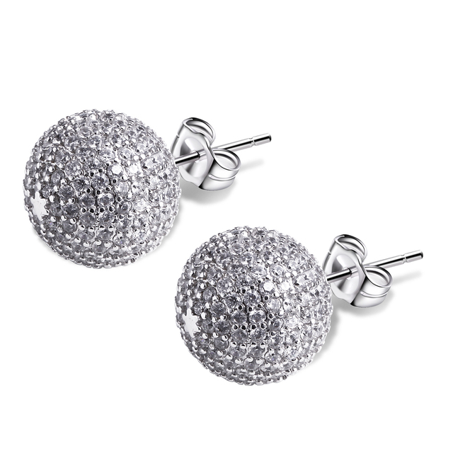 CZ crystal ball earrings 2017 jewelry Rhodium plate OL Aaa Cubic Zirconia Stud Earrings Birthday Gift