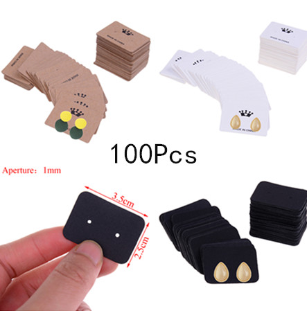 100Pcs Multi Color Paper Cute Stud Earring Hangtag Card Custom Logo Cost Extra Jewelry Display Packing Card 3.5*2.5cm image